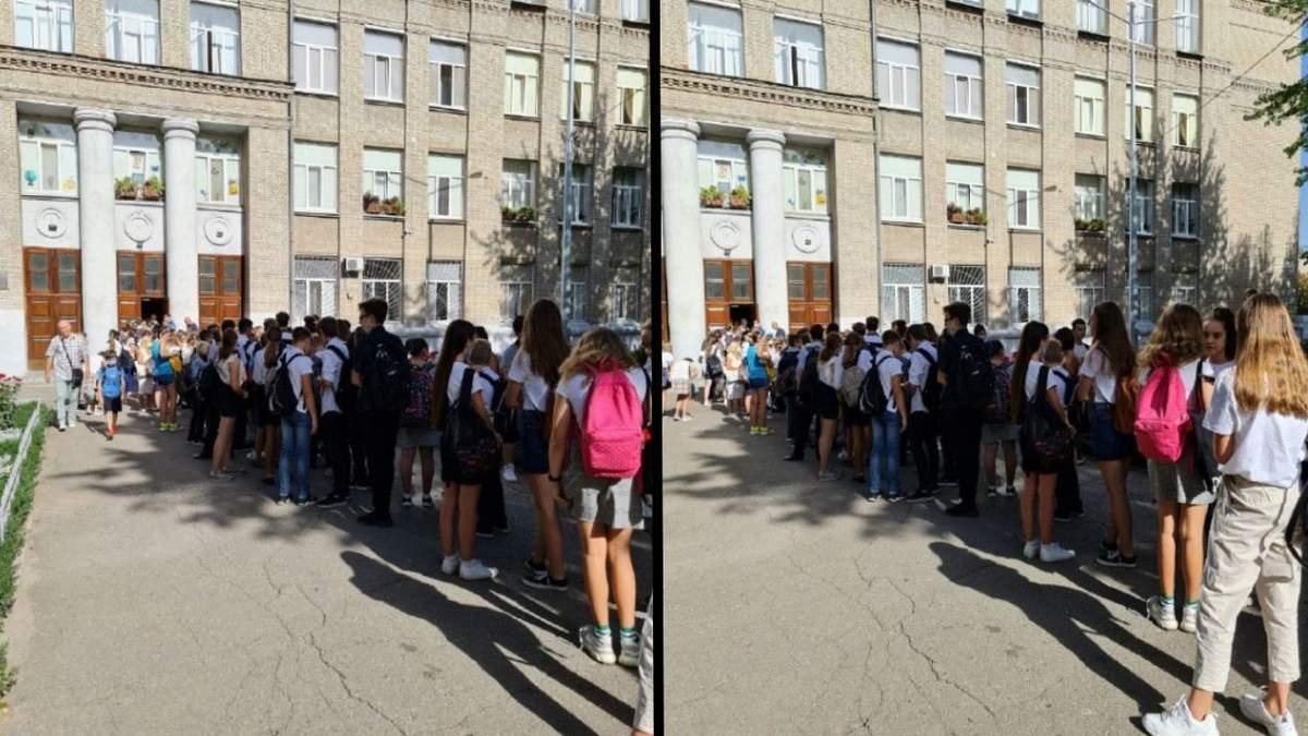 Під Харківською гімназією №116 зібралася величезна черга учнів: фото