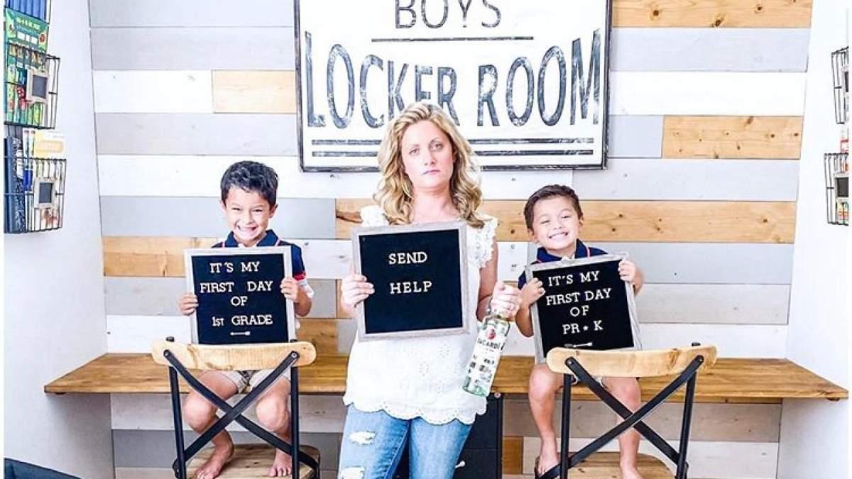 Родители из США поделились забавными фото по случаю начала коронавирусного учебного года