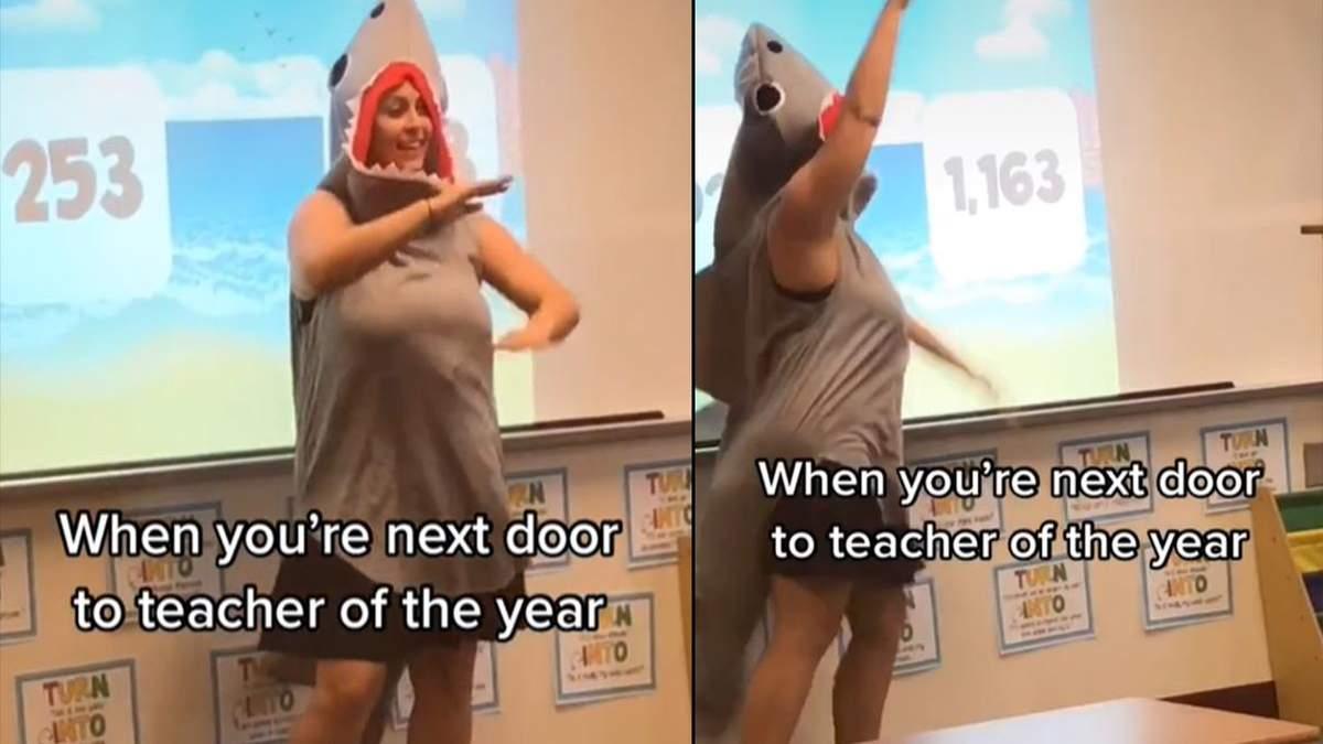 Учительница провела онлайн-урок для учеников в костюме акулы: смешное видео