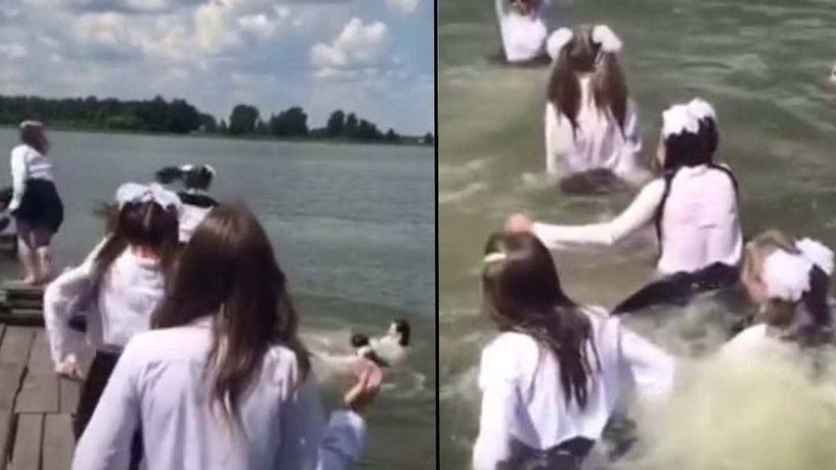 На Ровенщине ученицы прыгали в озеро в школьной форме: видео