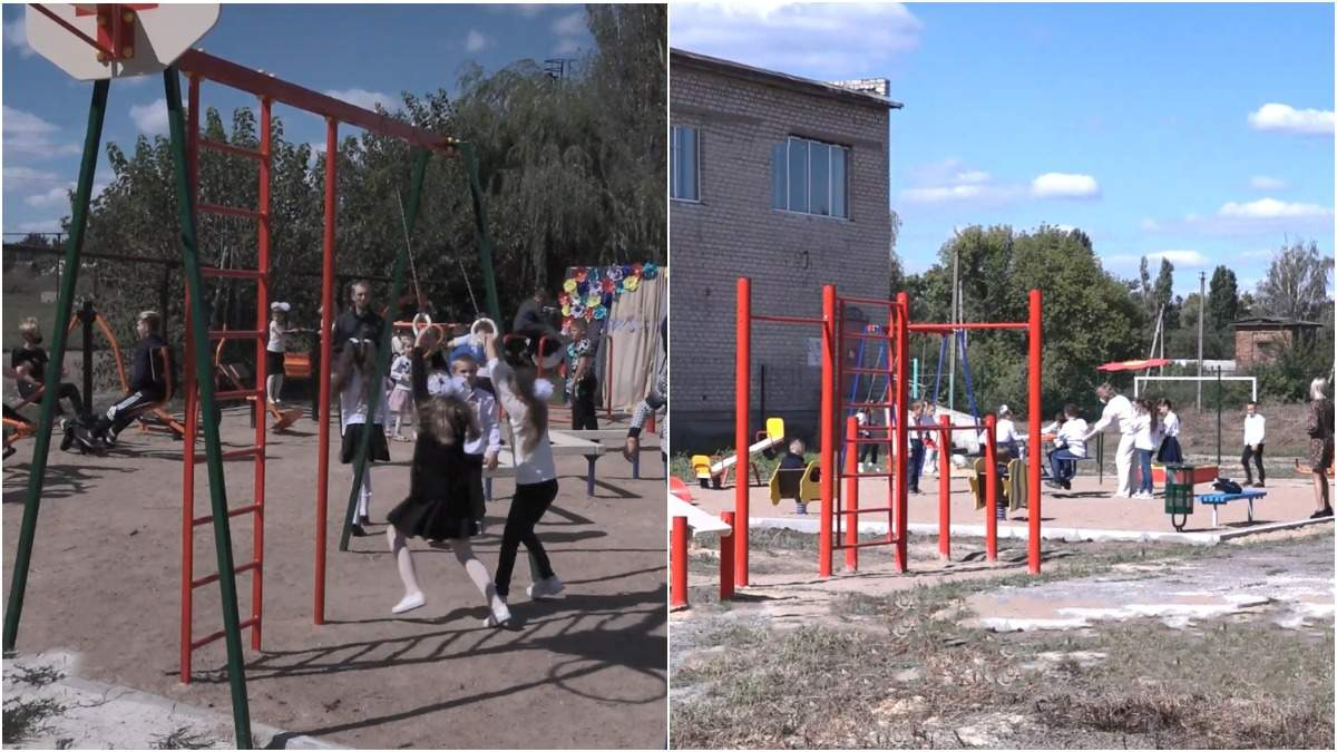 Обучение под звуки обстрелов: детям прифронтовых школ обустроили современные площадки